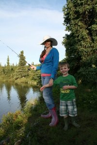 Shelbie and her son, Aiden, fish south of Fairbanks in the Alaska Range.