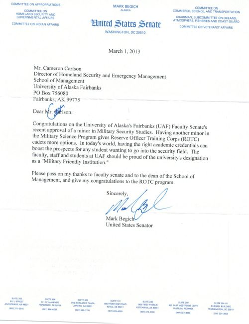 Letter of Congratulations from Senator Begich