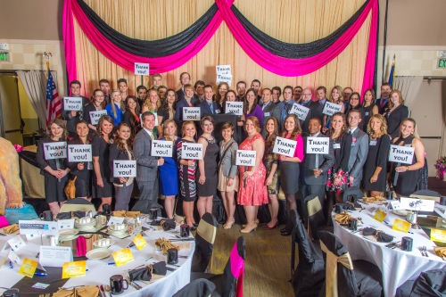 UAF School of Management students show their appreciation for the community's support. UAF photo by Todd Paris, 2014