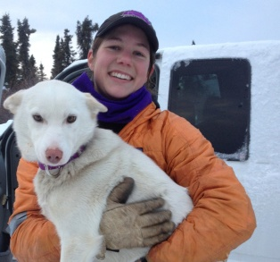 Ryne Olson with one of her dogs.